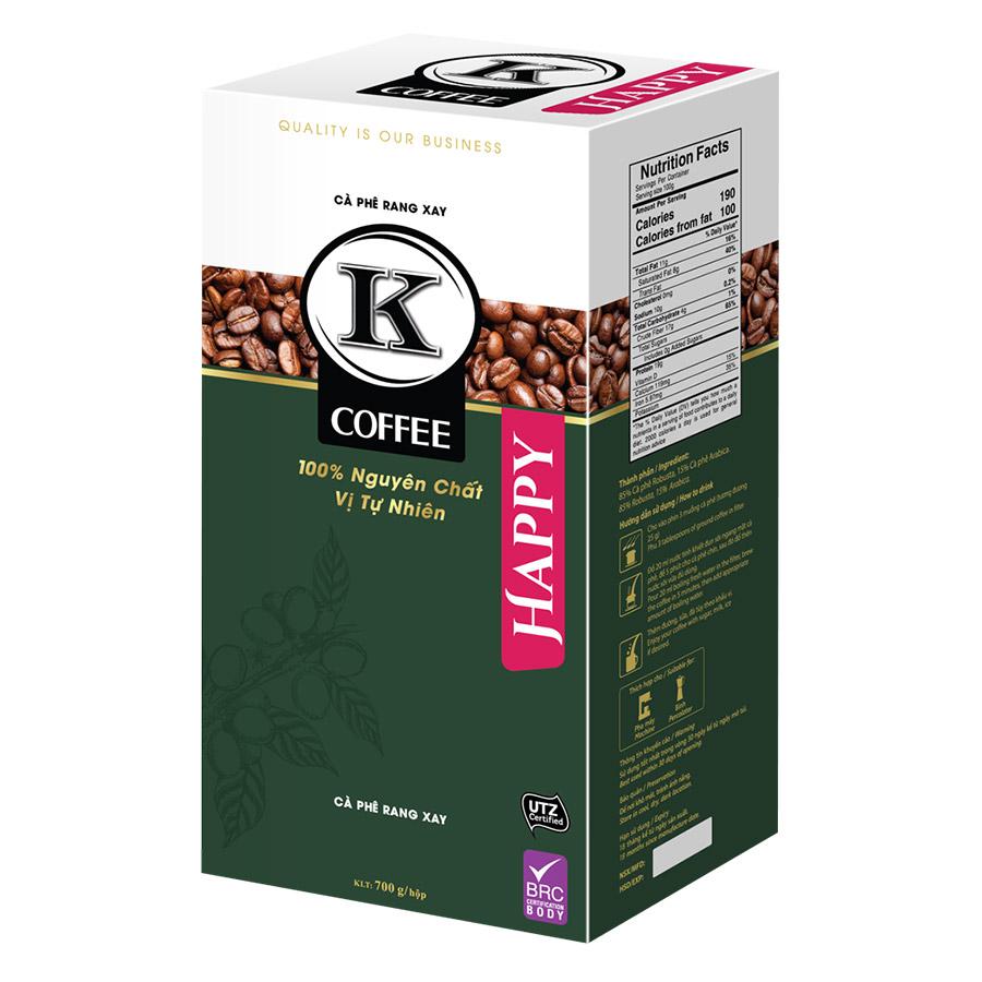 Cà Phê Rang Xay K-Coffee Happy (700g / Hộp)
