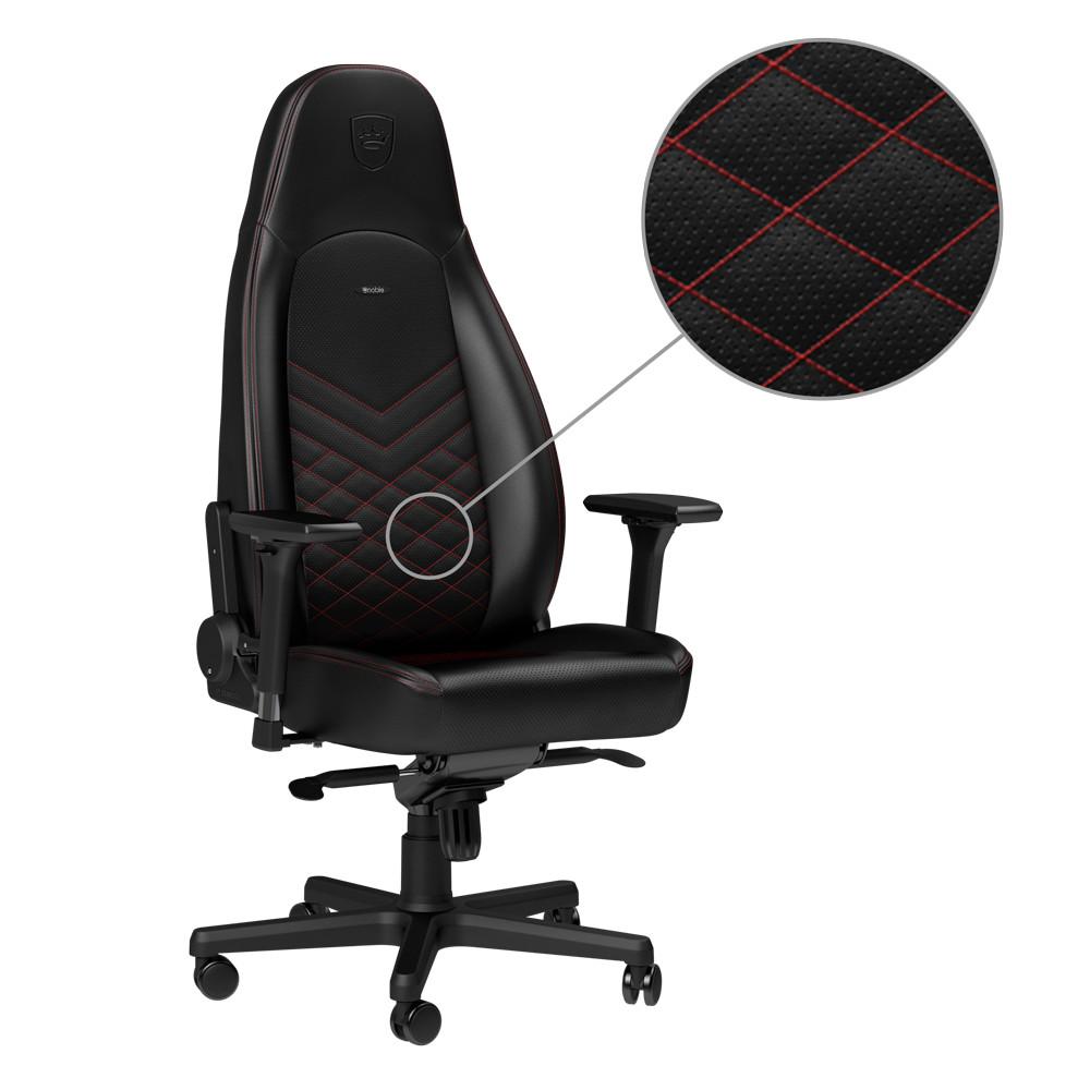 Ghế Gaming Noble Chair - Icon Series Black/Red - Hàng chính hãng