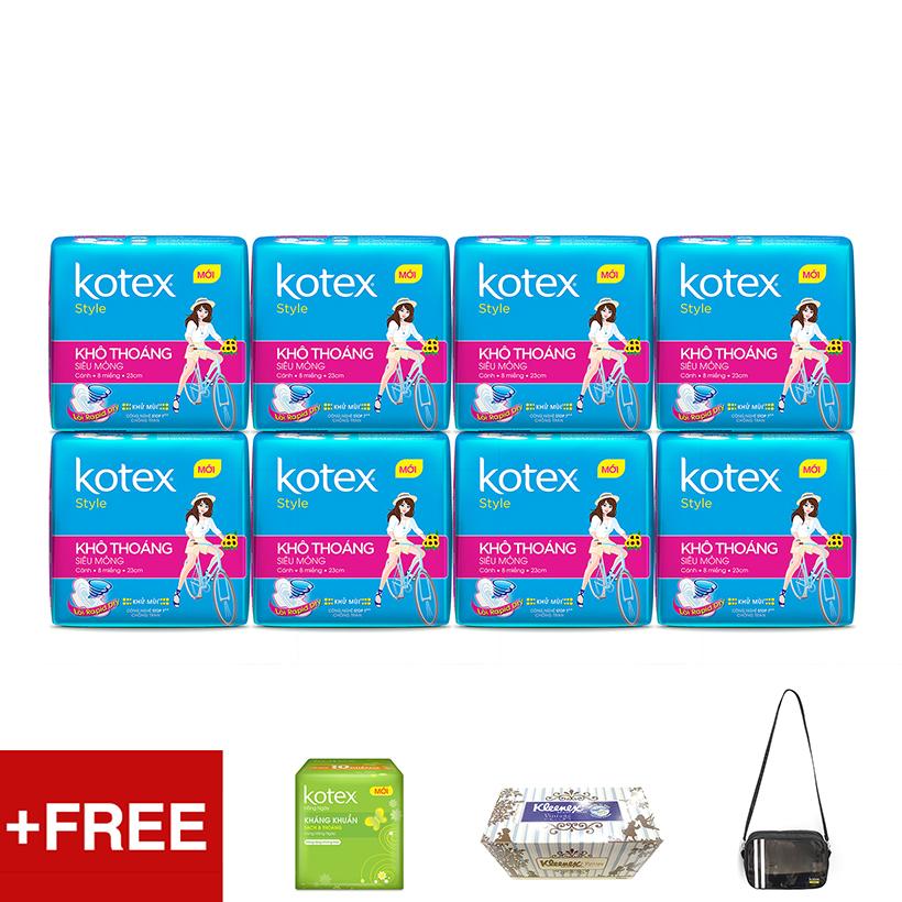 Bộ 8 gói Kotex Style Tặng Túi thể thao + Hộp khăn giấy Kleenex + 1 Gói Kotex Hàng ngày - 977642 , 2772962994939 , 62_2431819 , 178500 , Bo-8-goi-Kotex-Style-Tang-Tui-the-thao-Hop-khan-giay-Kleenex-1-Goi-Kotex-Hang-ngay-62_2431819 , tiki.vn , Bộ 8 gói Kotex Style Tặng Túi thể thao + Hộp khăn giấy Kleenex + 1 Gói Kotex Hàng ngày