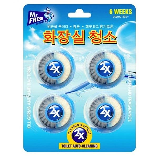 Vỉ 4 viên tẩy xanh bồn cầu, toilet công nghệ X2 Mr.Fresh Hàn Quốc