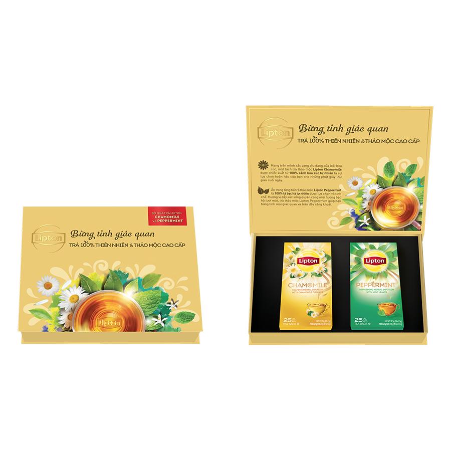 Hộp Quà Lipton 2: Trà Peppermint (25 Gói x 1.5g) Và Trà Thảo Mộc Chamomile (25 Gói x 2g) - Phiên Bản Giới Hạn