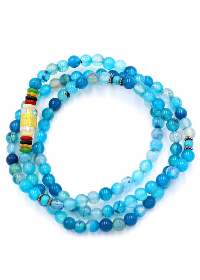 Chuỗi hạt đeo tay 108 hạt ngọc tủy xanh biển VMTNTXB1 - Vòng đeo tay chuỗi hạt đá phong thủy - Tràng chuỗi niệm...