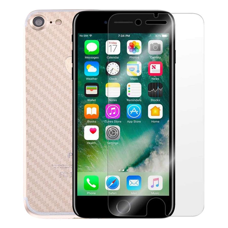 Bộ Kính Cường Lực iPhone 7 / 8 Remax (Trong Suốt) Và Miếng Dán Mặt Sau Vân Carbon (Trong suốt) - Hàng Chính Hãng