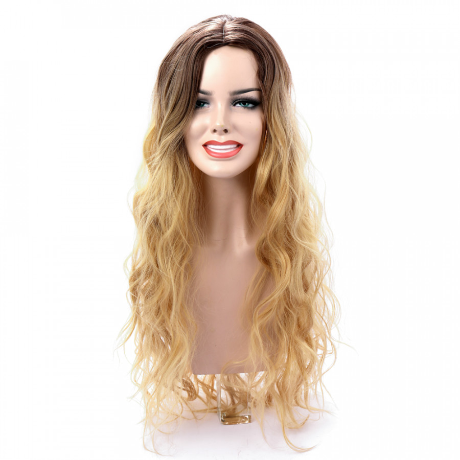High-temperature Matt Synthetic Fiber Lace Front Big Curly Wigs for The Long Curve Natural Matt Hairpiece Black Yellow