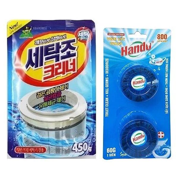 Combo gói bột tẩy vệ sinh lồng máy giặt Hàn Quốc 450g + Vỉ 2 viên tẩy sạch khử mùi bồn cầu Hando - 997569 , 5091993769420 , 62_2708243 , 150000 , Combo-goi-bot-tay-ve-sinh-long-may-giat-Han-Quoc-450g-Vi-2-vien-tay-sach-khu-mui-bon-cau-Hando-62_2708243 , tiki.vn , Combo gói bột tẩy vệ sinh lồng máy giặt Hàn Quốc 450g + Vỉ 2 viên tẩy sạch khử mùi bồ
