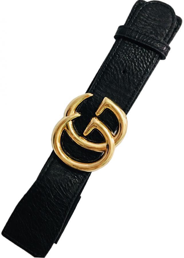 Thắt lưng nữ mặc đầm mặt  chữ hợp kim  mạ vàng cá tính GG06 (dây đen)