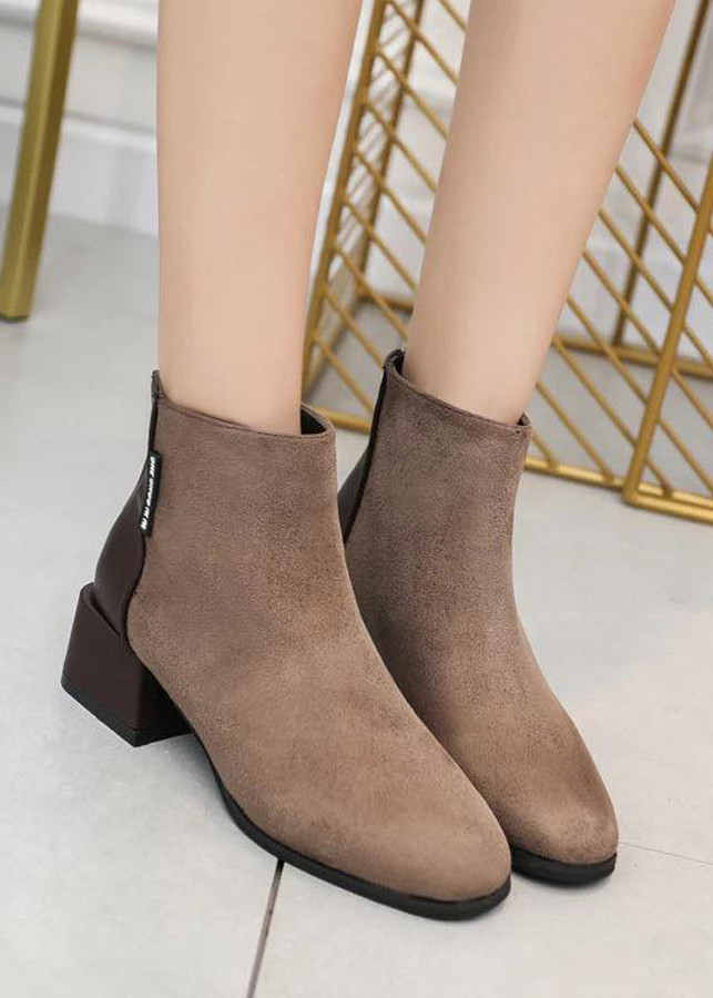 Giày Bốt Nữ Da Lộn Gót Cao 5cm