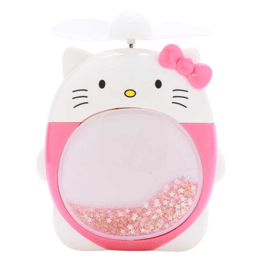 Quạt Sạc Mini Có Đèn - Kitty Đỏ