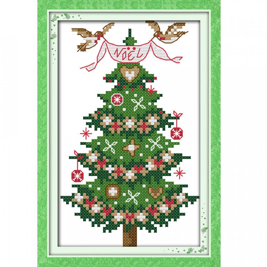 Bộ Tranh Thêu Chữ Thập Cây Thông Noel (55 x 43cm)