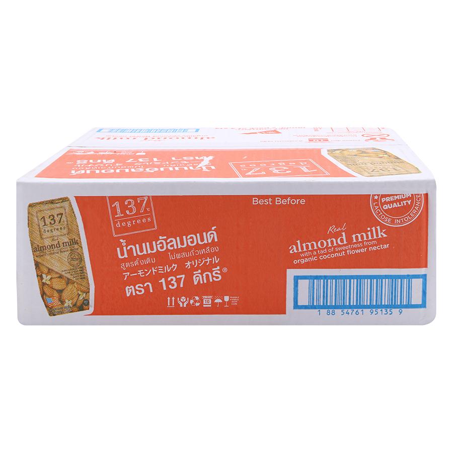 Thùng Sữa Hạnh Nhân Nguyên Chất Truyền Thống 137 Degrees (180ml)