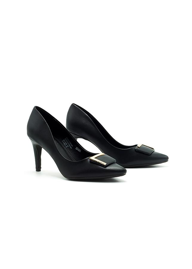 Giày Cao Gót Lananda 7cm Đính Khóa L Estella -  Màu Đen