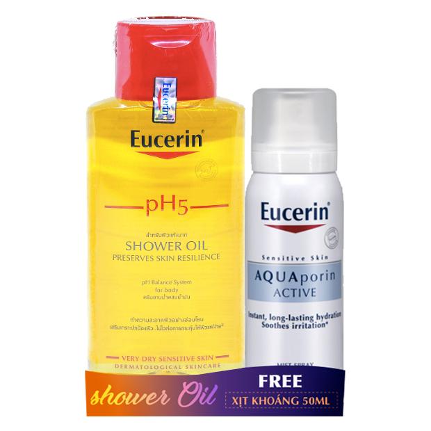 Bộ dầu tắm Eucerin pH5 Shower Oil 200ml tặng xịt dưỡng ẩm Eucerin Aquaporin 50ml | KBM02