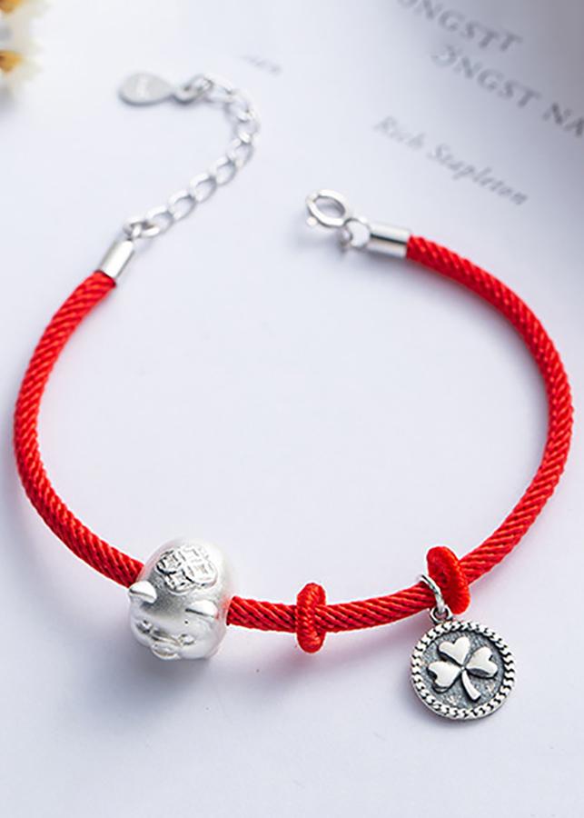Lắc Tay Charm Heo Tài Lộc Cỏ 4 Lá May Mắn Bằng Bạc S925 Cho Cả Nam và Nữ Bảo Ngọc Jewelry