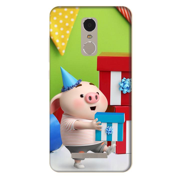 Ốp lưng nhựa cứng nhám dành cho Xiaomi Redmi Note 3 in hình Heo Con Mừng Sinh Nhật