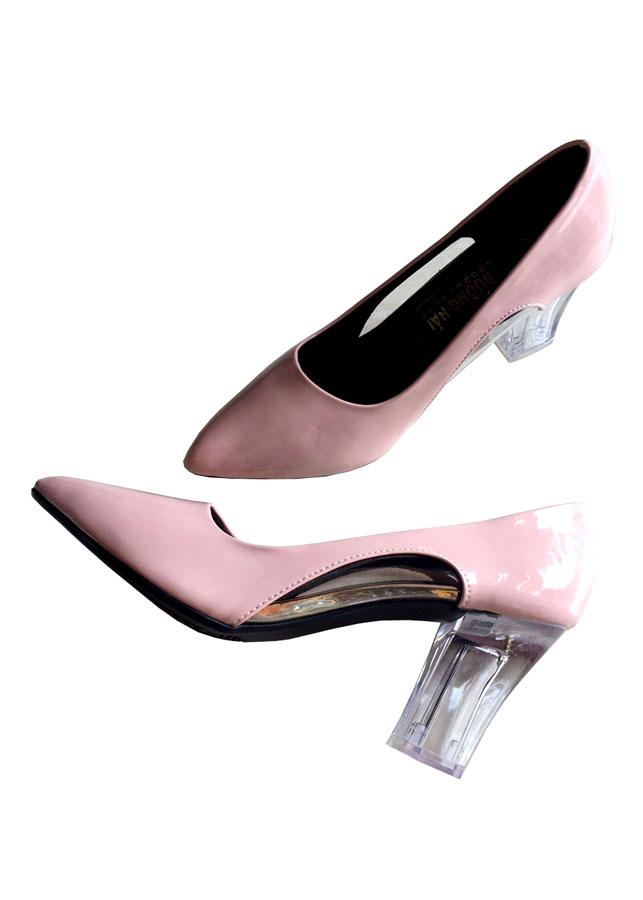Giày cao gót 7cm da bóng màu hồng đế mica trong CG06