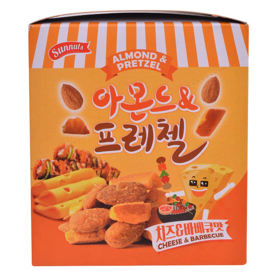 Hạnh Nhân Kèm Bánh Quy Cay Vị Phô Mai  Barbecue Sunnuts Almond  Pretzel Butter Cheese  BBQ (8 Gói x 30g)