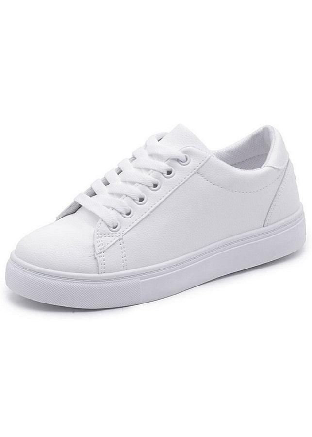 Giày Sneaker Nữ Thêu Mèo Dễ Thương Bazas BZ-33W Màu Trắng
