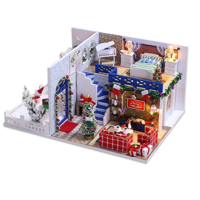 Mô hình nhà búp bê gỗ I-DIY - Blue Christmas