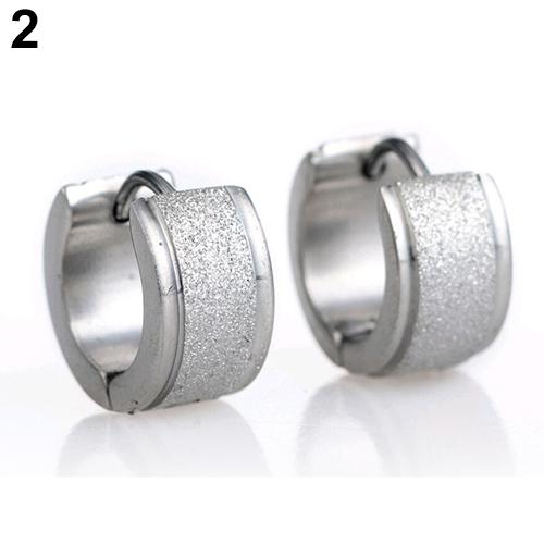 1 Pair Unisex Titanium Steel Dull Polish Hoop Huggie Earrings Ear Studs