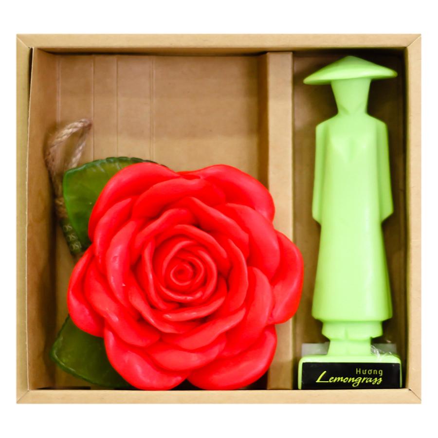 Combo Xà Bông Thiên Nhiên Hương Hoa Hồng + Xà Bông Áo Dài Hương Sả Eccomorning Natural Handmade Soap (100g/Bánh)