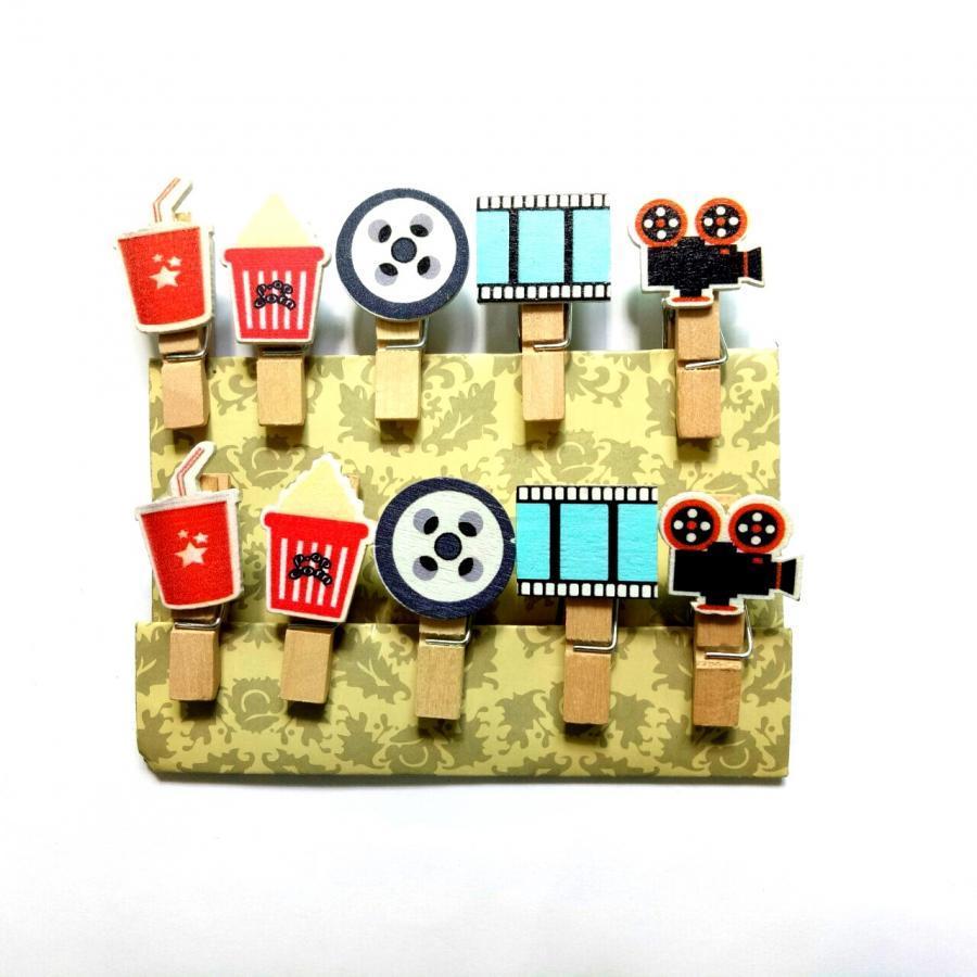 Bộ kẹp gỗ chủ đề rạp chiếu phim (10 cái)