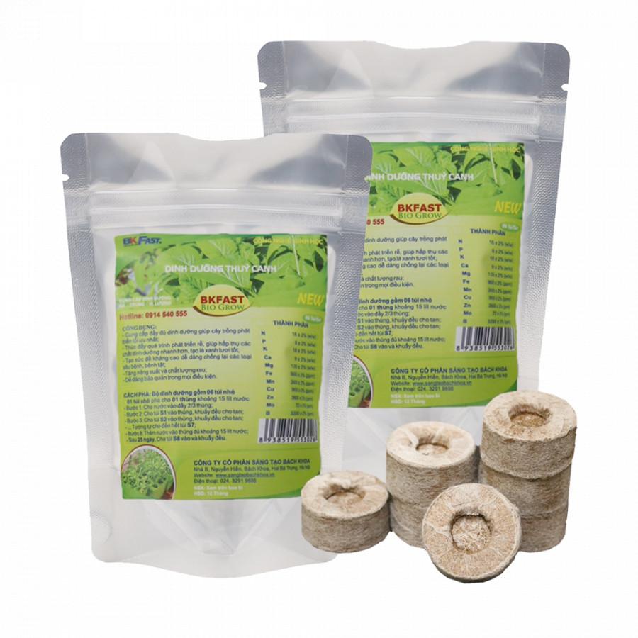Combo 2 túi Dinh dưỡng thủy canh + 2 túi Viên nén xơ dừa BKFast (36 viên/túi)