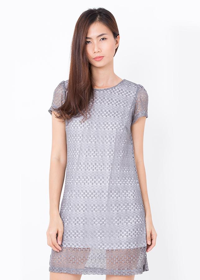 Đầm Suông Ren Bigsize - Xám - Citino