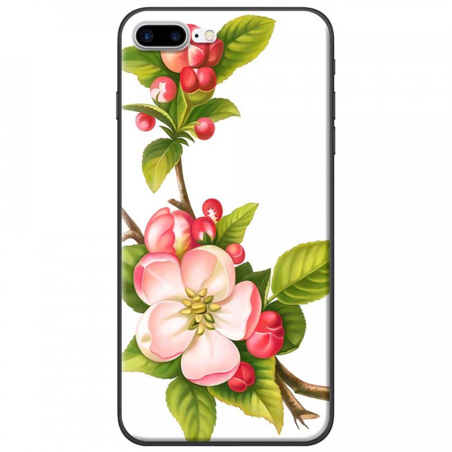 Ốp lưng dành cho iPhone 7 Plus mẫu Hoa đào đỏ nền trắng