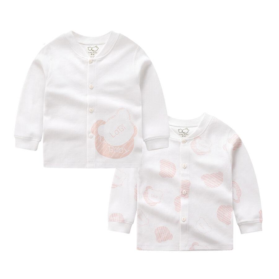 Rabbi autumn and winter baby underwear cotton bottoming children men and women baby autumn clothes shirt bear imprint shirt (2 pieces) rose red...