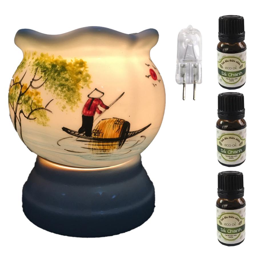 Đèn xông tinh dầu size L AH06 và 3 tinh dầu sả chanh Eco 10ml và 1 bóng đèn