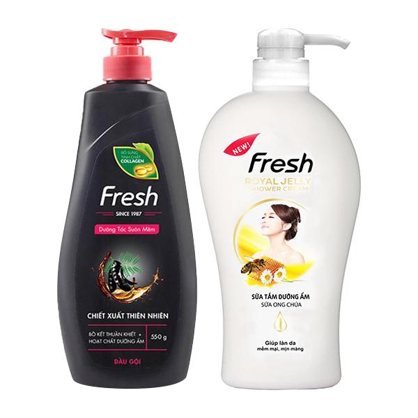 Bộ dầu gội Bồ kết dưỡng tóc Fresh 550g và sữa tắm Ong chúa dưỡng ẩm Fresh 550g