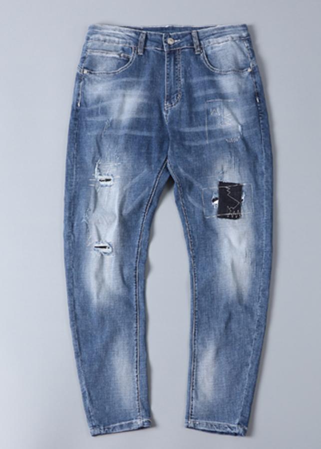 Quần jeans nam vá rách (Xanh sáng)