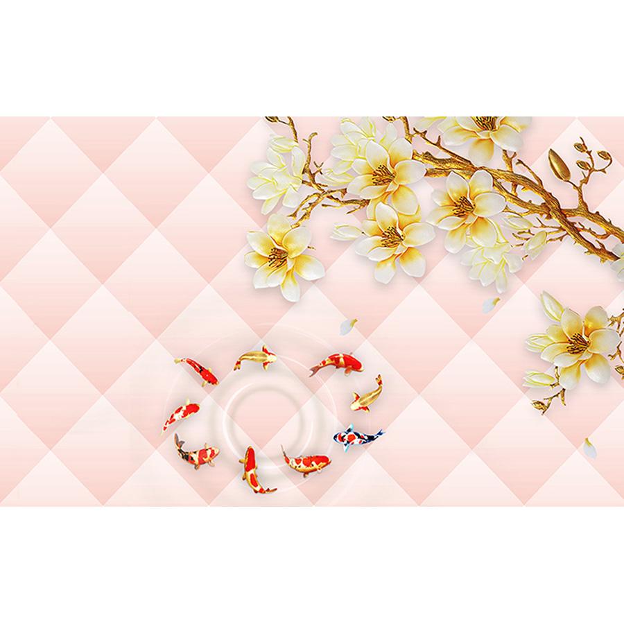 Tranh dán tường 3d | Tranh dán tường phong thủy hoa sen cá chép 3d 105
