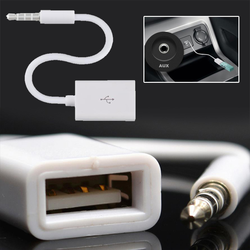 3.5mm AUX Audio Adapter Jack To USB 2.0 female Port Converter Cord Cable Car MP3