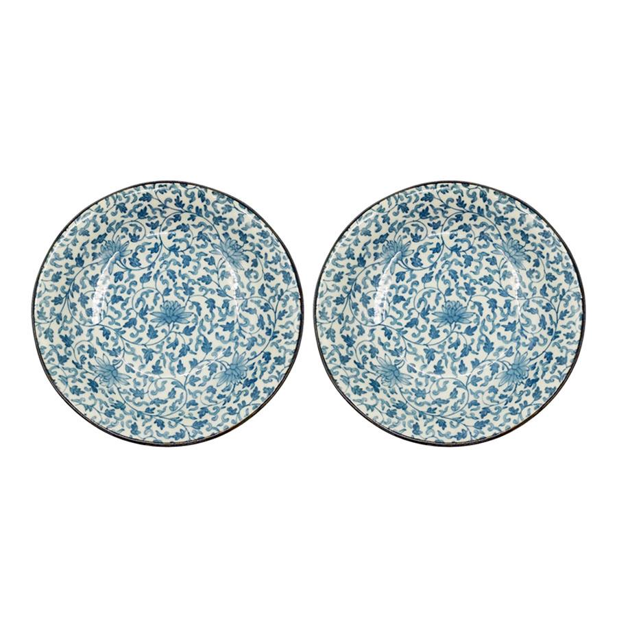 Combo 2 đĩa sứ ceramic sâu lòng có viền cao cấp  - Hàng Nội Địa Nhật