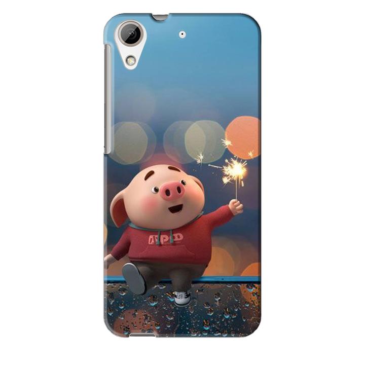 Ốp lưng nhựa cứng nhám dành cho HTC Desire 626 in hình Heo Pháo Bông