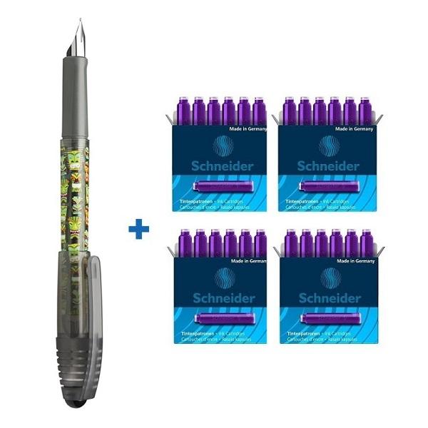 Combo bút máy Schneider Zippi và 4 hộp óng mực Schneider dành cho học sinh tiểu học
