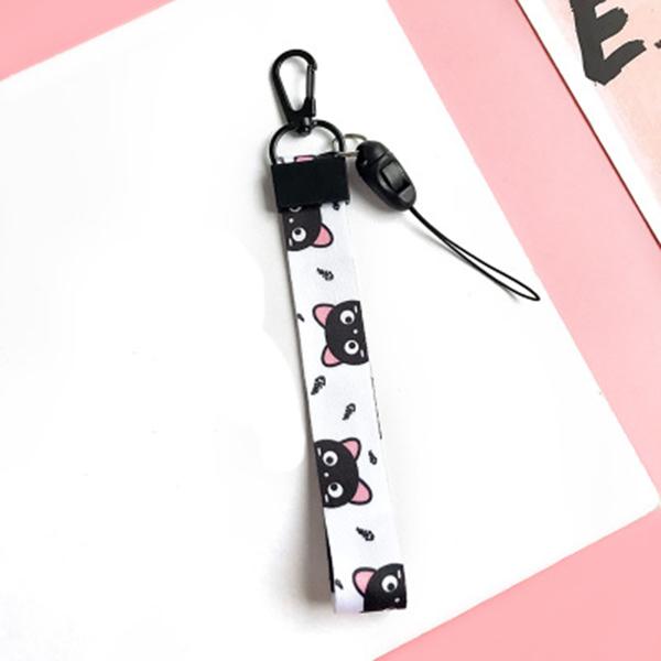 Móc khóa dây Strap dây vải ngắn hình mèo đen - dây trắng