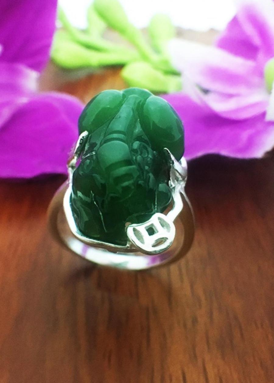 Nhẫn tì hiu bạc nữ , nhẫn nữ bạc 925, nhẫn tì hiu đá xanh  , nhẫn tì hiu phong thủy cho mệnh hỏa- mộc NTH3 trang...