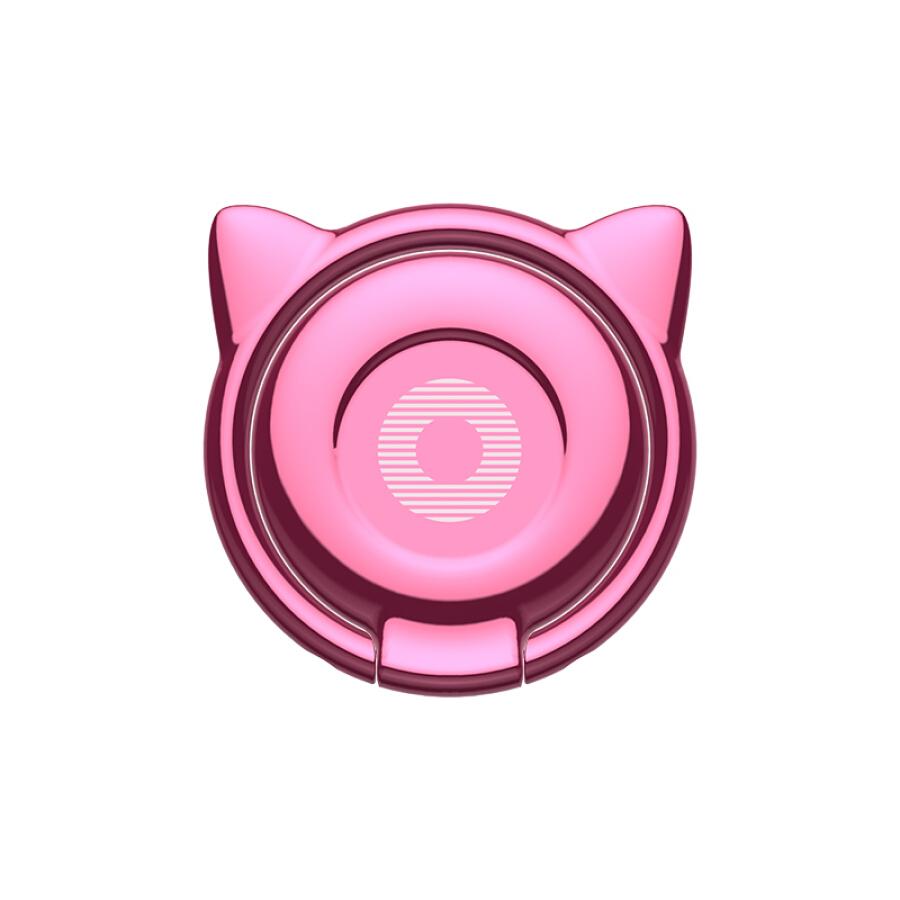 Móc Khóa Giá Đỡ Điện Thoại Kim Loại Baseus Hình Tai Mèo Lazy Stent Hồng