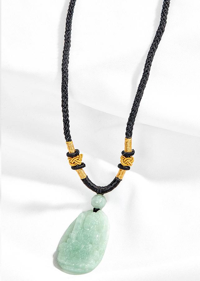 Mặt dây chuyển phật bản mệnh tuổi Mão Văn thù bồ tát Cẩm thạch phỉ thúy Ngọc Quý Gemstones