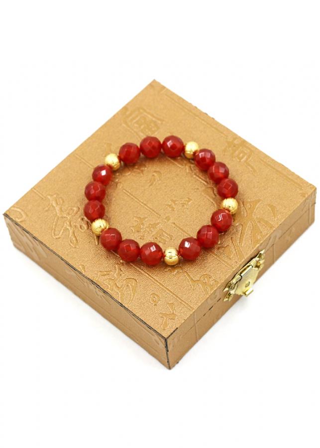 Vòng tay chuỗi hạt thạch anh đỏ cắt giác 10 ly MV11 kèm hộp gỗ