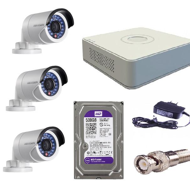 Combo 3 Camera 1080P HIKVISION DS-2CE16D0T-IR + DVR 4CH DS-7104HQHI-K1 + HDD WD 500GB (hàng chính hãng)