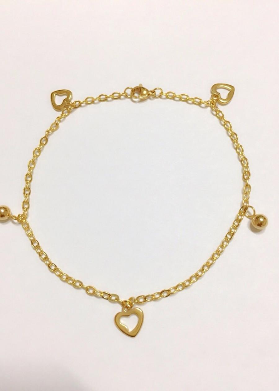 Lắc chân nữ trái tim mạ vàng 18k