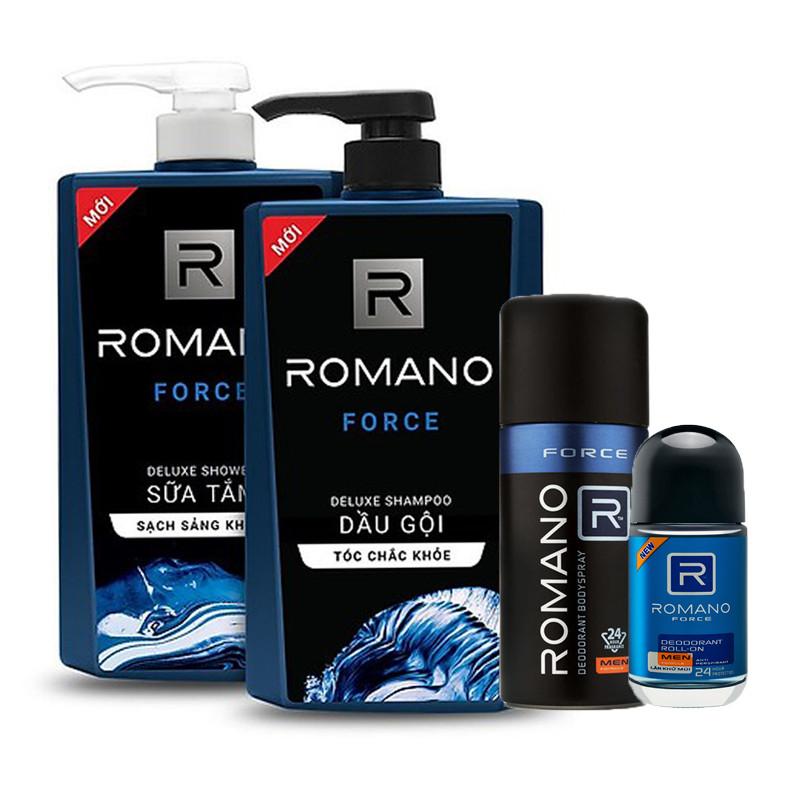 Combo Romano Force: Dầu gội 650g, sữa tắm 650g, xịt khử mùi 150ml+ Tặng kèm lăn khử mùi 40ml