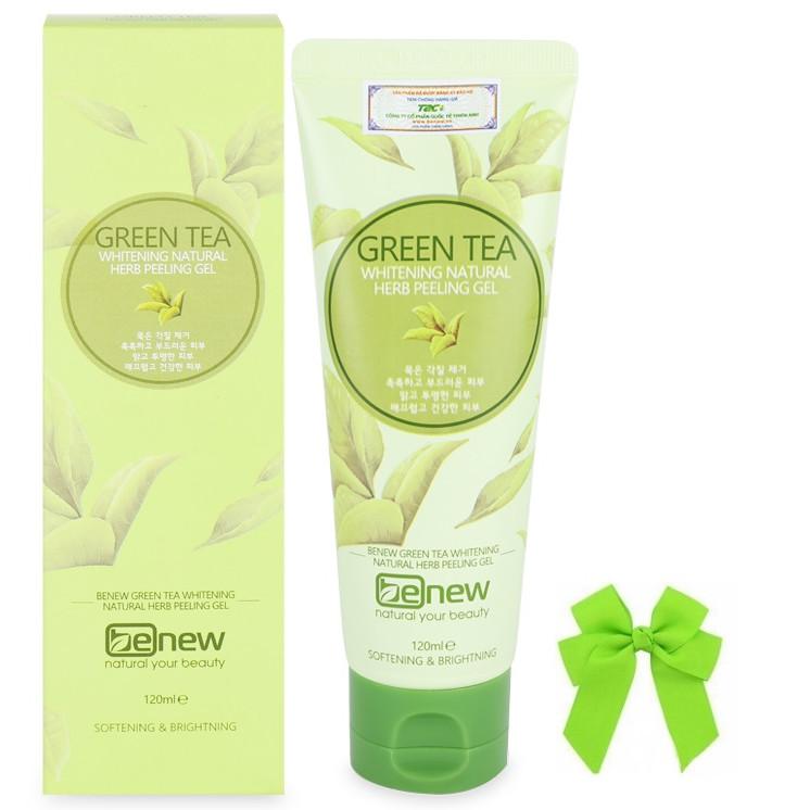 Tẩy da chết dành cho mặt và toàn thân tinh chất trà xanh Green Tea Benew Hàn quốc (120ml) và nơ