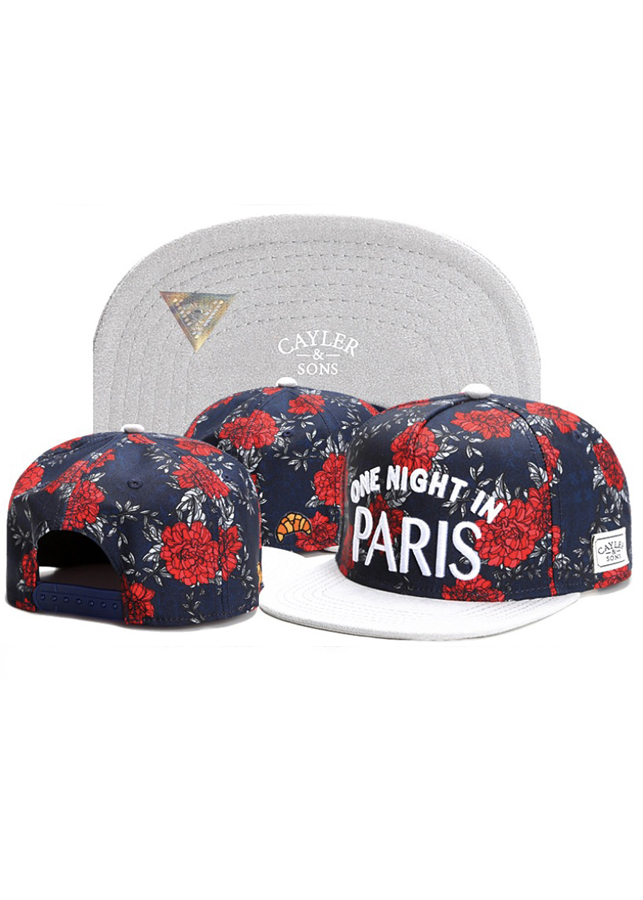 Mũ Snapback Caylor And Sons vải kaki One night in Paris (Đỏ trắng)
