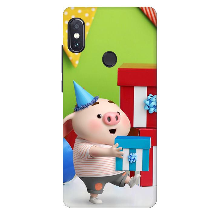 Ốp lưng nhựa cứng nhám dành cho Xiaomi Redmi Note 5 AI DUAL in hình Heo Con Mừng Sinh Nhật