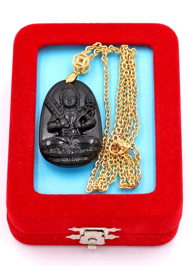 Dây chuyền phật Hư Không Tạng Bồ Tát - thạch anh đen 3.6cm DIVTEB6 - dây inox vàng - kèm hộp nhung - tuổi Sửu, Dần