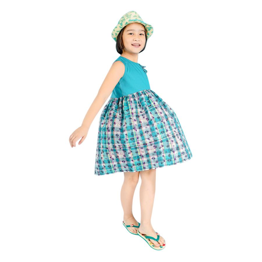 Đầm Xòe Bé Gái Hoa Xanh Ugether UKID88 - Họa Tiết